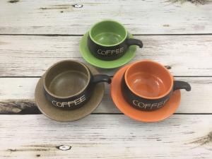 Bộ tách cà phê lõm gốm Bát Tràng (sắc màu)