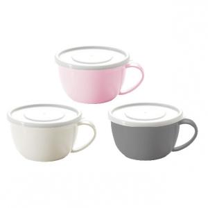 Cốc súp nhựa Nhật Bản có nắp đậy 360ml (3 màu trắng, hồng, xám)